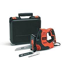 Black+Decker 3-in-1 Scie universelle Scorpion 500W RS890K - Scie à main, couteau et tronçonneuse électrique avec valise - 23mm Longueur de levage