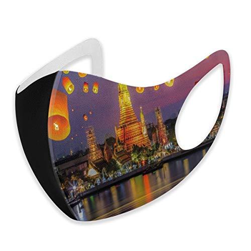 WYYCLD Gesichts-Mund-Schutz,Wat Arun Building Thailand Bangkok Coastline People Wishing Positive Asian Cultureunisex M,Gesichtsabdeckung Sturmhaube für Männer im Freien Frauen