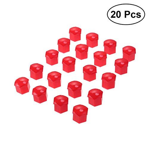 VORCOOL 21 in 1 Sechskant Radmutter Abdeckungen Schrauben Abdeckungen Schraube Schützen Kappen 21mm mit Clips (Rot)