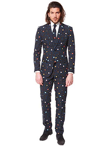 OppoSuits Herren Prom Suits for Men – Pac-Man – Comes with Jacket, Pants and Tie in Funny Designs Männeranzug, Schwarz (Black), 62