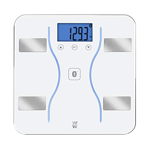 WW Scales by Conair Bluetooth Body Analysis Bathroom Scale  Measures Body Fat Body Water Bone Mass Muscle Mass BMI 9 User Memory 400 lb Capacity White
