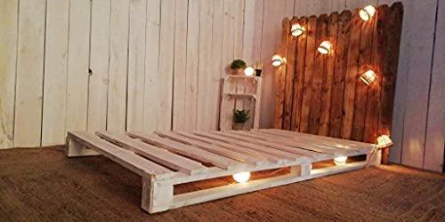 Base de Cama Matrimonial con Palets - Somier Individual con Cabecero, Base de Camas con Posibilidad de Añadir Luces, Ruedas (150x190x15, Desmontado (3 Patas + Tablas + Tornillos))