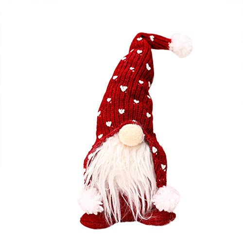 GBSELL Christmas Ornaments, Christmas Home Decor Doll, Plush Long Hat Forest Man Figurine Creative Xmas Santa Claus Faceless Doll with Long Beard (Red B-11.81 x 3.93 x 1.96)