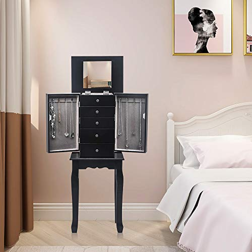 E-Greetshopping Standing Jewelry Armoire with Mirror, 5 Drawers & 6 Necklace Hooks, Wood Standing Jewelry Cabinet with Drawers , 2 Side Swing Doors Vintage Jewelry Box to Store Jewelry for Women (Black)