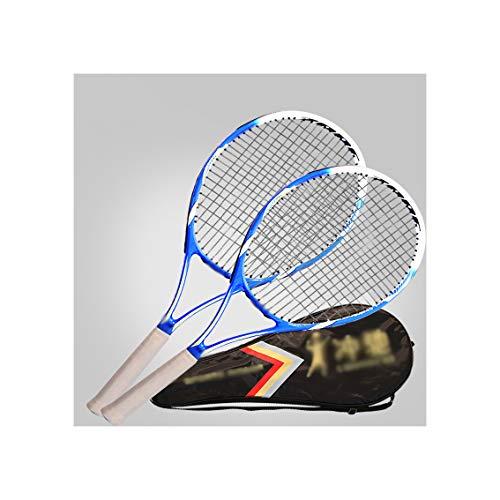 HLONGG Raqueta De Tenis Profesional, Principiante, Unisex, Estudiante, Tenis De Adultos Raqueta De Tenis Doble Práctica (Dos Paquetes),Azul
