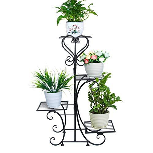 Dreamworldeu - Scaffale per fiori a 4 livelli, in metallo, rimovibile, per interni, balcone, soggiorno, giardino, ufficio, 57 x 25 x 81 cm