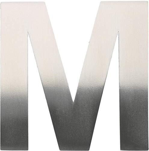 """Metall-Buchstabe """"M"""" aus gebürstetem Edelstahl – Höhe 8cm – Hausnummer, Zimmerbeschriftung, Bürobeschriftung, Türsymbol, Wandbeschilderung – rostfrei und selbstklebend ohne bohren"""