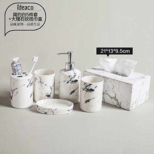 hjky Bathroom Accessories Set le bain de marbre couette 4 pièces de céramique brosse minimaliste Tasse Tasse de lavage cadeaux de mariage kit de vanidad, minimaliste Blanc + Boîte de papier