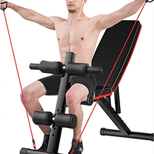 Adjustable Weight Bench Press Foldable Strength Training Bench with Fitness Rope, Leg Extension, Incline Decline Flat Exercise Bench for Full Body Workout Home Gym Strength Training(USA in Stock)
