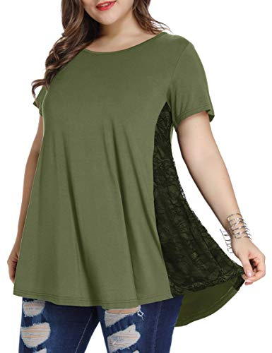 LARACE Women Lace Tunic Top Short Sleeve Flare T Shirt For Leggings(2X, Army Green)