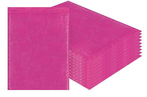 Price comparison product image Amiff Pink Poly Bubble mailers 14.25 x 19 Padded envelopes 14 1 / 4 x 19. Pack of 10 Large Poly Cushion envelopes. Exterior Size 15x20 (15 x 20). Peel and Seal. Mailing,  Shipping,  Packing.