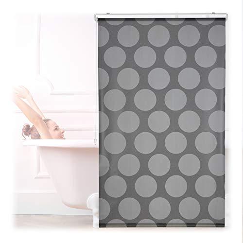 Relaxdays Estor de Ducha Enrollable 100 x 240 cm, para Ducha y bañera, Estor de baño Enrollable Impermeable, Techo y Ventana, Color Gris