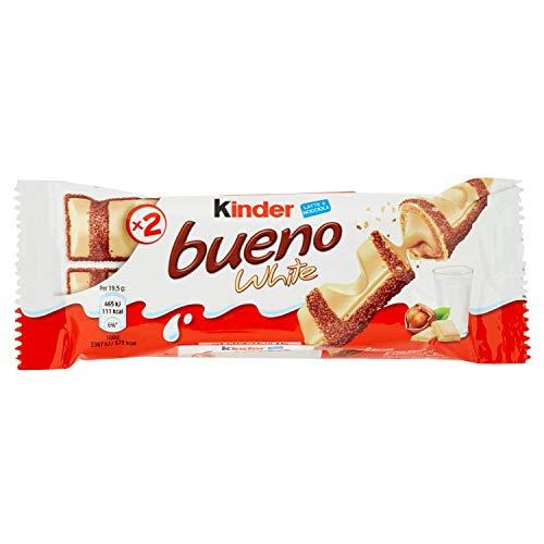 Kinder Bueno Wafer Farcito al Latte e Nocciole Ricoperto di Cioccolato Bianco - Pacco da 30 pezzi