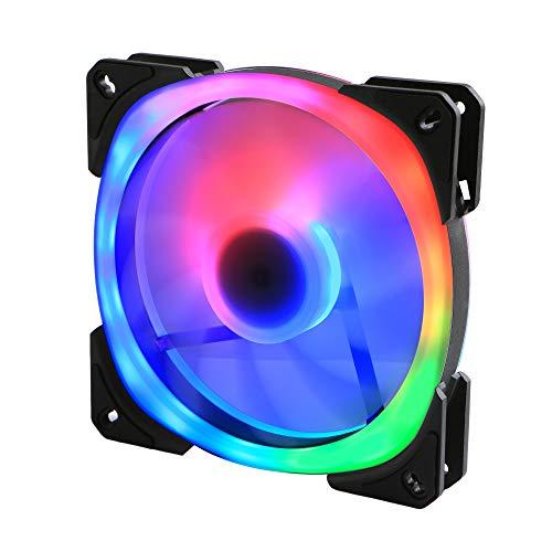 GELID SOLUTIONS Lyra - Ventilador ARGB - iluminación de Doble Anillo - 24 LED ARGB - rodamientos de Bolas Dobles - Controlador de Motor IC - 140x140x25 - Negro