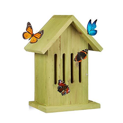 Relaxdays Schmetterlingshaus hängend, Insektenhotel für Garten, Balkon, Apollofalter, HxBxT: 25,5 x 18,5 x 12 cm, grün