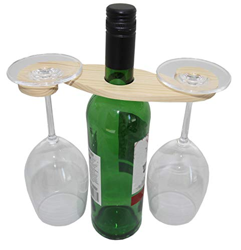 rukauf Weinflaschen und Gläserhalter aus Holz für 2 Gläser - Wein-Buttler Wine-Caddy Wein-Glas-Aufhänger Weinglas-Halter