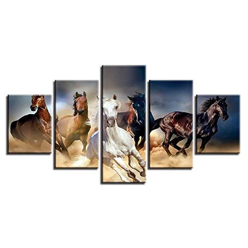 WGBHQ 150X100CM Vijf Schilderij Foto's Mural Canvas Hd Prints Home Decoratieve Papegaai Schilderij 5 Stuks Vogelwand Art Woonkamer Modulaire Moderne Afbeeldingen Kunstwerk Poster 5 Panelen Modern Landschap Artwo A7