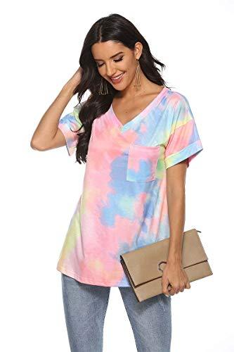 BWCX Camiseta con Efecto Tie Dye Degradado para Mujer, Bolsillo con Cuello En V, Camiseta Suelta De Manga Corta,Rosado,XL