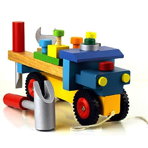Kleurrijke baby vroege educatieve houten speelgoedgereedschap speelgoed, auto voor kinderen demonteren speelgoed, tafel voor kinderen auto demonteren tafelspellen leren schroefassemblage speelgoed