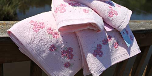 TAC 4er Handtuch Set, saugstark Premium Dusch und Badetuch Cotton schnelltrocknend mit gestrickte Blumen Motiv (Basil - Pink - Rosa)