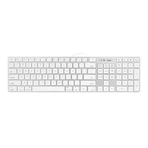iHome Full Size Wired Keyboard - Compatible with Apple iOS or Windows - Sleek Mac and iMac Style Design - Desktop PC or Laptop