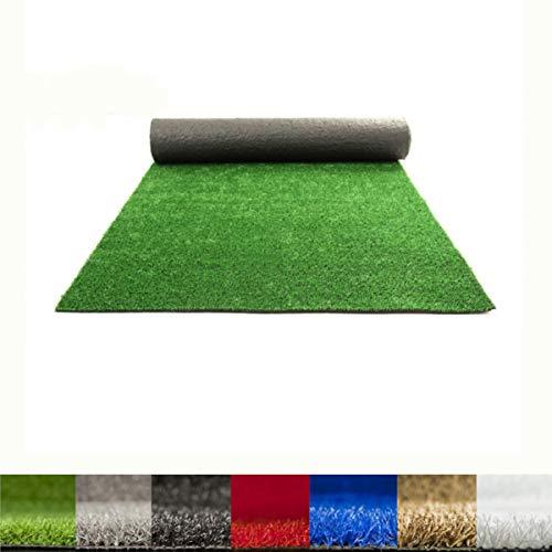 Lucatex – Césped artificial Ibiza 8mm | césped artificial de colores azul, rojo, blanco, verde. | Césped artificial ideal para decoraciones de interior o exterior con fácil instalación (1x5 m, Verde)
