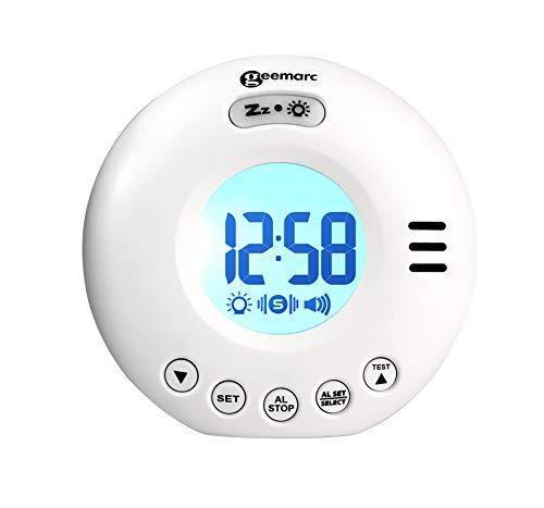 Geemarc Wake'n Shake Voyager Reloj de Alarma portátil para Viajes con Alarma Extra Fuerte 75 dB + vibración + Estuche de Viaje Blanco