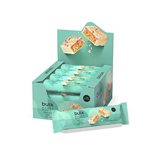 Bulk Macro Munch Protein Bar, Birthday Cake, 62 g, Pack of 12, Packaging May Vary