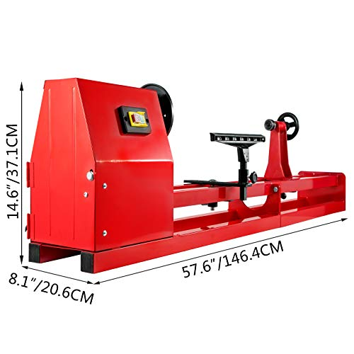 VEVOR Wood Lathe 14Inch x 40Inch Power Wood Turning Lathe 1/2HP 4 Speed 1100/1600/2300/3400RPM Benchtop Wood Lathe Perfect for High Speed Sanding and Polishing of Finished Work
