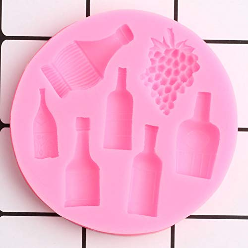 ZHQIC 3D Grape Silicone Mold Flower Vase Bottle Chocolate Fondant Mold DIYParty Cake Decorating ToolsPolymer Clay Candy Mould