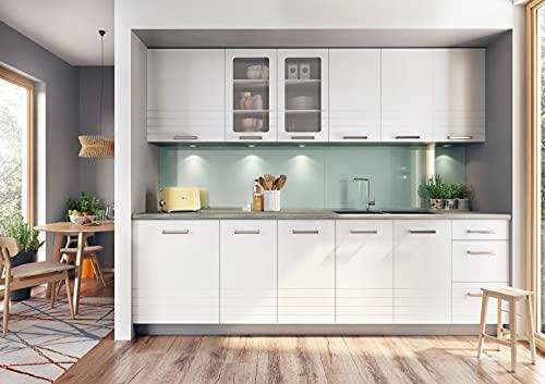 Muebles de Cocina Completa 260 cms Color Blanco, zocalos incluidos, ref-56a NO Incluye: Fregadero NI Grifo