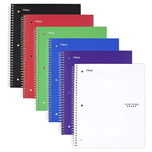 Five Star Spiral Notebook, 5 Subject, College Ruled Paper, 200 Sheets, 11' x 8-1/2', Assorted Colors, 6 Pack (73793)