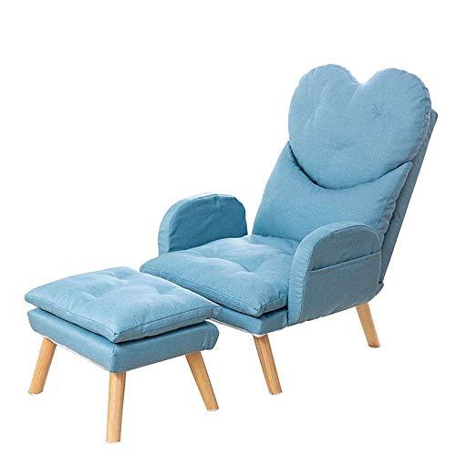 1yess Sillones Sillón reclinable con el pie heces otomana Muebles for la Sala Moderna Silla de salón de la Sala de recepción Dormitorio contemporáneo (Color: Azul, tamaño: Tamaño Libre)