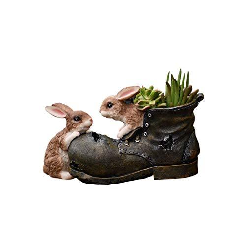 Conejo de dibujos animados suculento de Tiesto, lindo creativo de la forma animal en maceta resina Jardinería Decoración zapatos rotos conejo suculento de la maceta del jardín del balcón en maceta Mac