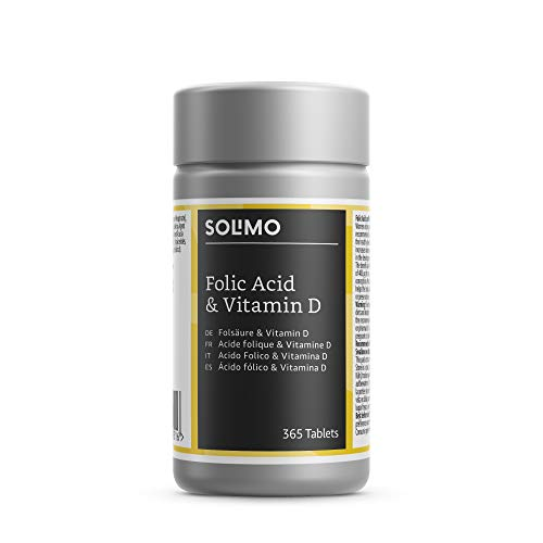 Amazon Brand - Solimo Folic Acid and Vitamin D Food Supplement, 365 Tablets