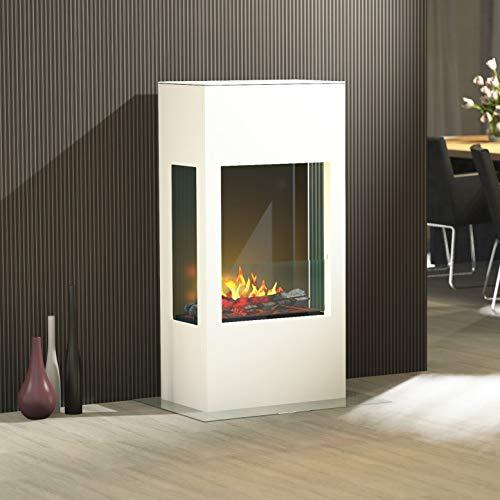 muenkel design Prism 620 - Opti-Myst Elektrokamin Kaminofen Kamin - Korpus Weiß - mit Heizung - Dekoholz mit Stehrost gezackt