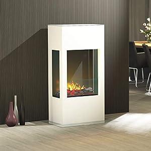 Muenkel Design Prism 620 Opti-Myst – Chimenea eléctrica para chimenea (cuerpo blanco, sin calefacción, madera con…