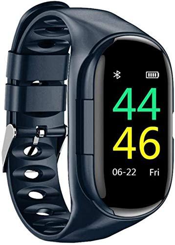 JSL Reloj inteligente 2 en 1 con auriculares inalámbricos Bluetooth, pulsera de actividad física, monitor de sueño y GPS conectado, azul