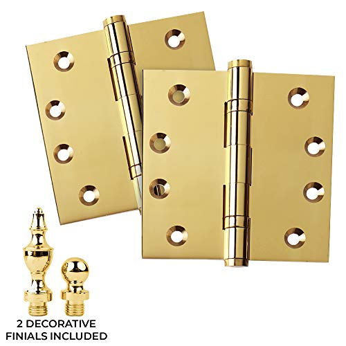 2 PK - Door Hinges 4' x 4' Extruded Solid Brass Ball Bearing Heavy Duty Polished Brass (US3) Stainless Steel Removable Pin, Architectural Grade, Ball/Urn/Button Tips Included