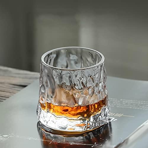 PPuujia Vaso de whisky creativo de cristal grueso para whisky, diseño de martillo, vasos de vino, espiritual, copa de brandy (capacidad: 160 ml, color: patrón de martillo)