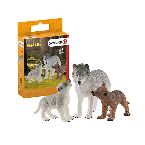 SCHLEICH Wild Life 3-Piece Mother Wolf & Wolf Pups Animal Toys for Kids Ages 3-8