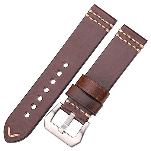ZXF Correa Reloj 20 mm 22 mm 24 mm Correa Correa de Cuero Negro marrón Azul Amarillo señoras Pulsera de los Hombres Accesorios (Band Color : Brown Silver Buckle, Band Width : 20mm)