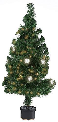 Cindio Leuchtender künstlicher Weihnachtsbaum/Tannenbaum aus Glasfaser mit Farbvariationen in Topf – 90 cm