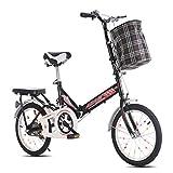FUJGYLGL Folding Mountain Road Beach Bicicleta de Estudiantes Masculinos y Femeninos Shift Frenos Doble Amortiguador Adulto Cercanías Plegable Dual de Doble Disco Amortiguador Bici de la Pista Urbana
