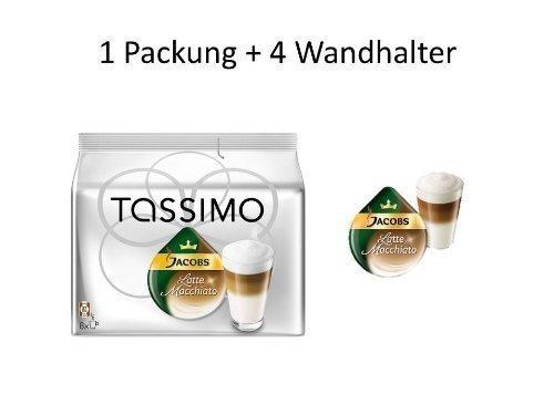 Tassimo Jacobs Latte Macchiato + 4 weisse Wandhalter für T-Disc Karton von James Premium®