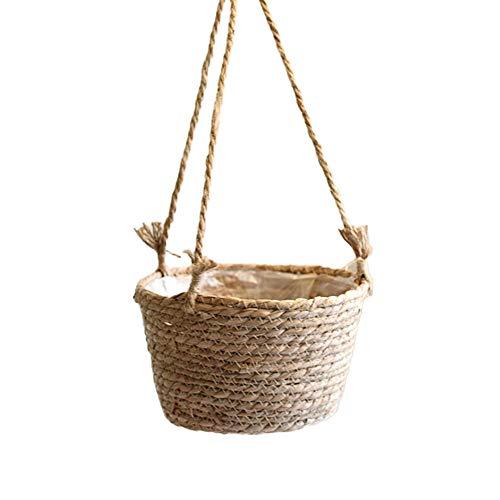 Redsa Maceta colgante de pajita de 20 cm, cuerda de yute para colgar flores, cesta de mimbre para plantas suculentas y pequeñas para interiores y exteriores