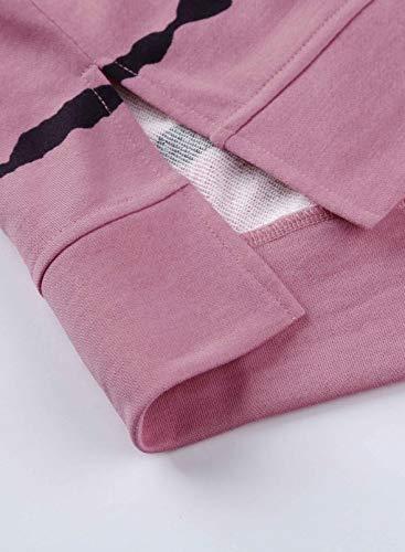 Asvivid Women Hoodies Sweatshirt Striped Color Block Long Sleeve Pullover Top