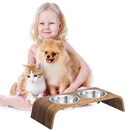 Hölzerner Erhöhter Ständer für eine gesündere Haltung beim Essen für Katzen und Hunde inklusive Futternapf Katze und Hund (walnuss)