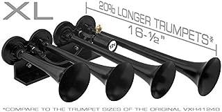 Vixen Horns Train Horn for Truck/Car. 4 Air Horn Black Trumpets (XLong). Super Loud dB. Fits 12v Vehicles Like Semi/Pickup/Jeep/RV/SUV VXH4124XLB