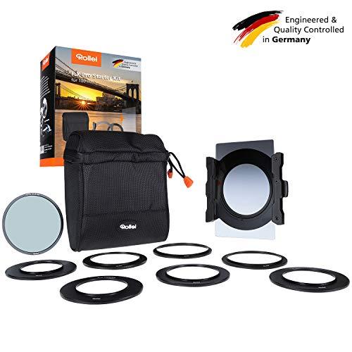 Rollei F:X Pro Starter Kit I Filterhalter für 100mm Rechteckfilter, inkl. Verlaufsfilter Soft GND8 & Polfilter, Objektivadapter 52 – 82mm, Filtertasche